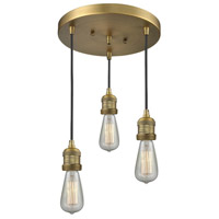 Innovations Lighting 211NH/3-BB Bare Bulb 3 Light 10 inch Brushed Brass Multi-Pendant Ceiling Light Franklin Restoration
