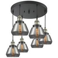 Innovations Lighting 212/6-BAB-G173 Fulton 6 Light 14 inch Black Antique Brass Multi-Pendant Ceiling Light Franklin Restoration
