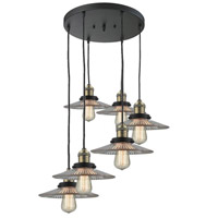 Innovations Lighting 212/6-BAB-G2 Halophane 6 Light 21 inch Black Antique Brass Multi-Pendant Ceiling Light Franklin Restoration