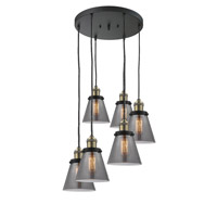 Innovations Lighting 212/6-BAB-G63 Small Cone 6 Light 12 inch Black Antique Brass Multi-Pendant Ceiling Light Franklin Restoration