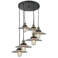 Halophane 6 Light 14 inch Black and Brushed Brass Multi-Pendant Ceiling Light