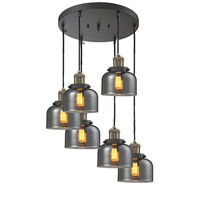 Signature 6 Light 12 inch Black and Brushed Brass Multi-Pendant Ceiling Light, Large, Bell