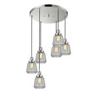 Innovations Lighting 212/6-PN-G142 Chatham 6 Light 14 inch Polished Nickel Multi-Pendant Ceiling Light, Franklin Restoration