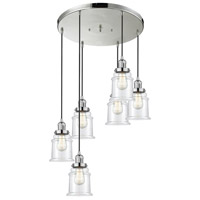 Innovations Lighting 212/6-PN-G182 Canton 6 Light 14 inch Polished Nickel Multi-Pendant Ceiling Light, Franklin Restoration
