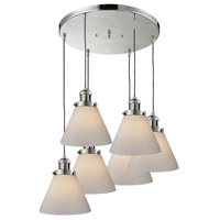 Signature 6 Light 13 inch Polished Nickel Multi-Pendant Ceiling Light, Large, Cone