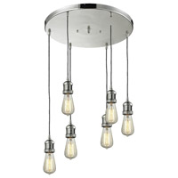 Innovations Lighting 212/6-PN Bare Bulb 6 Light 14 inch Polished Nickel Multi-Pendant Ceiling Light Franklin Restoration