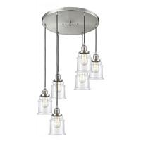 Innovations Lighting 212/6-SN-G182 Canton 6 Light 14 inch Satin Nickel Multi-Pendant Ceiling Light Franklin Restoration
