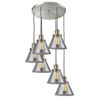 Signature 6 Light 13 inch Brushed Satin Nickel Multi-Pendant Ceiling Light, Large, Cone