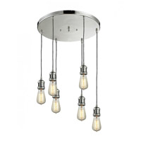 Innovations Lighting 212NH/6-SN Bare Bulb 6 Light 14 inch Satin Nickel Multi-Pendant Ceiling Light Franklin Restoration