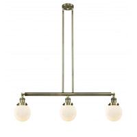 Innovations Lighting 213-AB-G201-6 Beacon 3 Light 39 inch Antique Brass Island Light Ceiling Light Franklin Restoration