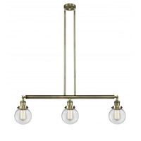Innovations Lighting 213-AB-G202-6 Beacon 3 Light 39 inch Antique Brass Island Light Ceiling Light Franklin Restoration