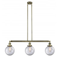 Innovations Lighting 213-AB-G202-8-LED Large Beacon LED 41 inch Antique Brass Island Light Ceiling Light Franklin Restoration