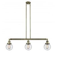 Innovations Lighting 213-AB-G204-6 Beacon 3 Light 39 inch Antique Brass Island Light Ceiling Light Franklin Restoration
