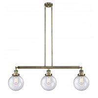 Innovations Lighting 213-AB-G204-8-LED Large Beacon LED 41 inch Antique Brass Island Light Ceiling Light Franklin Restoration