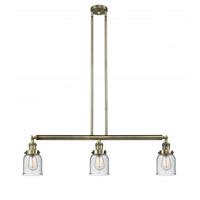 Innovations Lighting 213-AB-G54 Small Bell 3 Light 38 inch Antique Brass Island Light Ceiling Light Franklin Restoration