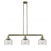 Innovations Lighting 213-AB-G74 Large Bell 3 Light 41 inch Antique Brass Island Light Ceiling Light Franklin Restoration
