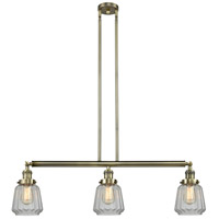 Innovations Lighting 213-AB-S-G142-LED Chatham LED 39 inch Antique Brass Island Light Ceiling Light, Adjustable