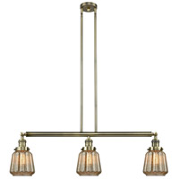 Innovations Lighting 213-AB-S-G146 Chatham 3 Light 39 inch Antique Brass Island Light Ceiling Light, Adjustable