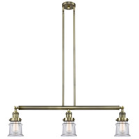 Innovations Lighting 213-AB-S-G182S Small Canton 3 Light 39 inch Antique Brass Island Light Ceiling Light Franklin Restoration