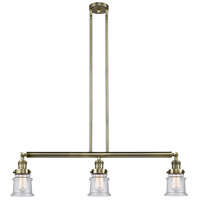 Innovations Lighting 213-AB-S-G184S Small Canton 3 Light 39 inch Antique Brass Island Light Ceiling Light Franklin Restoration