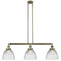 Innovations Lighting 213-AB-S-G222 Seneca Falls 3 Light 39 inch Antique Brass Island Light Ceiling Light, Franklin Restoration photo thumbnail