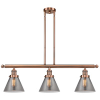 Innovations Lighting 213-AC-G43-LED Large Cone LED 36 inch Antique Copper Island Light Ceiling Light
