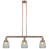 Innovations Lighting 213-AC-S-G142-LED Chatham LED 39 inch Antique Copper Island Light Ceiling Light, Adjustable