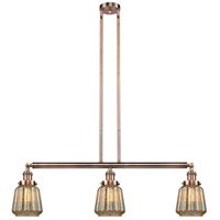 Innovations Lighting 213-AC-S-G146 Chatham 3 Light 39 inch Antique Copper Island Light Ceiling Light Adjustable