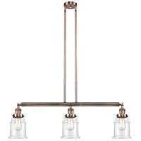 Innovations Lighting 213-AC-S-G182-LED Canton LED 39 inch Antique Copper Island Light Ceiling Light Adjustable