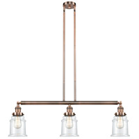 Canton 3 Light 39 inch Antique Copper Island Light Ceiling Light, Adjustable