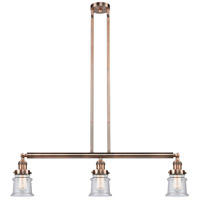 Innovations Lighting 213-AC-S-G184S Small Canton 3 Light 39 inch Antique Copper Island Light Ceiling Light Franklin Restoration