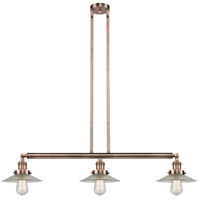 Innovations Lighting 213-AC-S-G2 Halophane 3 Light 41 inch Antique Copper Island Light Ceiling Light Adjustable