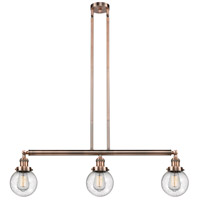 Innovations Lighting 213-AC-S-G204-6 Beacon 3 Light 39 inch Antique Copper Island Light Ceiling Light Adjustable