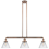 Innovations Lighting 213-AC-S-G42 Large Cone 3 Light 40 inch Antique Copper Island Light Ceiling Light Adjustable