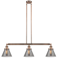 Innovations Lighting 213-AC-S-G43 Large Cone 3 Light 40 inch Antique Copper Island Light Ceiling Light Adjustable