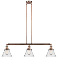 Innovations Lighting 213-AC-S-G44 Large Cone 3 Light 40 inch Antique Copper Island Light Ceiling Light Adjustable