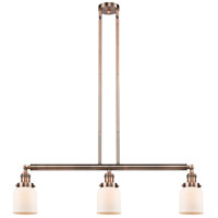 Innovations Lighting 213-AC-S-G51-LED Small Bell LED 38 inch Antique Copper Island Light Ceiling Light Adjustable