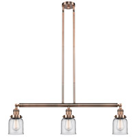 Innovations Lighting 213-AC-S-G52-LED Small Bell LED 38 inch Antique Copper Island Light Ceiling Light Adjustable