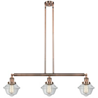 Innovations Lighting 213-AC-S-G532-LED Small Oxford LED 40 inch Antique Copper Island Light Ceiling Light Franklin Restoration