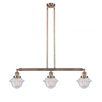 Innovations Lighting 213-AC-S-G534-LED Small Oxford LED 40 inch Antique Copper Island Light Ceiling Light Franklin Restoration