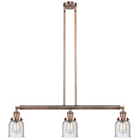 Innovations Lighting 213-AC-S-G54-LED Small Bell LED 38 inch Antique Copper Island Light Ceiling Light Adjustable