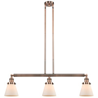 Innovations Lighting 213-AC-S-G61 Small Cone 3 Light 39 inch Antique Copper Island Light Ceiling Light Franklin Restoration