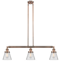 Innovations Lighting 213-AC-S-G62 Small Cone 3 Light 39 inch Antique Copper Island Light Ceiling Light Adjustable