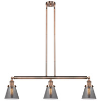 Innovations Lighting 213-AC-S-G63 Small Cone 3 Light 39 inch Antique Copper Island Light Ceiling Light Franklin Restoration