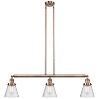 Innovations Lighting 213-AC-S-G64 Small Cone 3 Light 39 inch Antique Copper Island Light Ceiling Light Adjustable