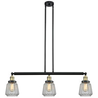 Innovations Lighting 213-BAB-S-G142-LED Chatham LED 39 inch Black Antique Brass Island Light Ceiling Light, Adjustable