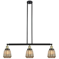 Innovations Lighting 213-BAB-S-G146-LED Chatham LED 39 inch Black Antique Brass Island Light Ceiling Light, Adjustable