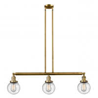Innovations Lighting 213-BB-G204-6-LED Beacon LED 39 inch Brushed Brass Island Light Ceiling Light Franklin Restoration