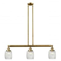 Innovations Lighting 213-BB-G302 Colton 3 Light 38 inch Brushed Brass Island Light Ceiling Light, Franklin Restoration