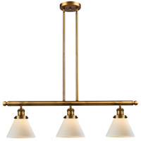 Large Cone 3 Light 36 inch Brushed Brass Island Light Ceiling Light